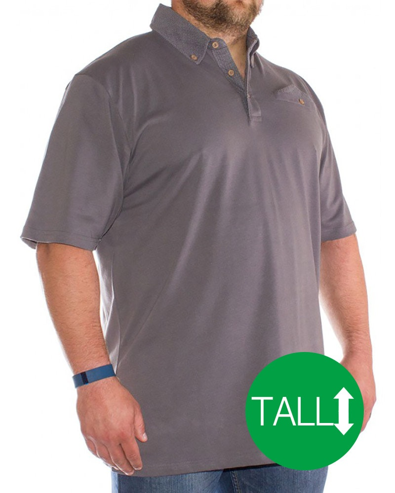 Bigdude Polka Dot Polo Shirt Graphite - Tall