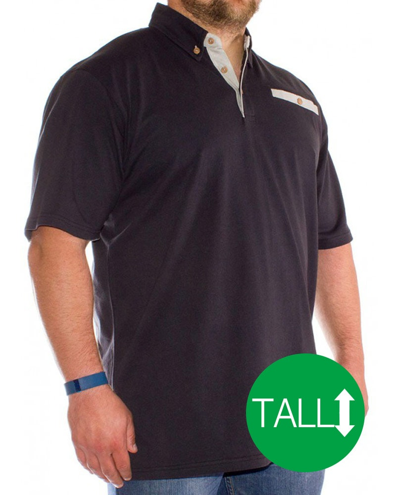 Bigdude Pocket Polo Shirt Black - Tall
