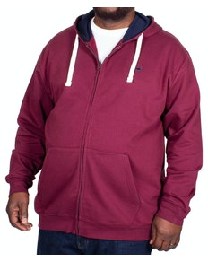 Bigdude Fleece Full Zip Hoody Burgundy Tall