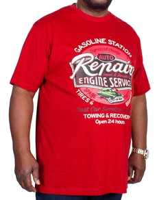 Espionage Auto Repair Print T-Shirt Deep Red