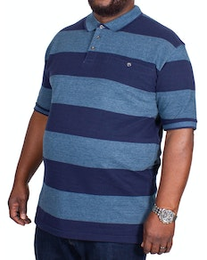 KAM Rugby Stripe Polo Shirt Denim