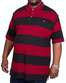 KAM Rugby Stripe Polo Shirt Burgundy