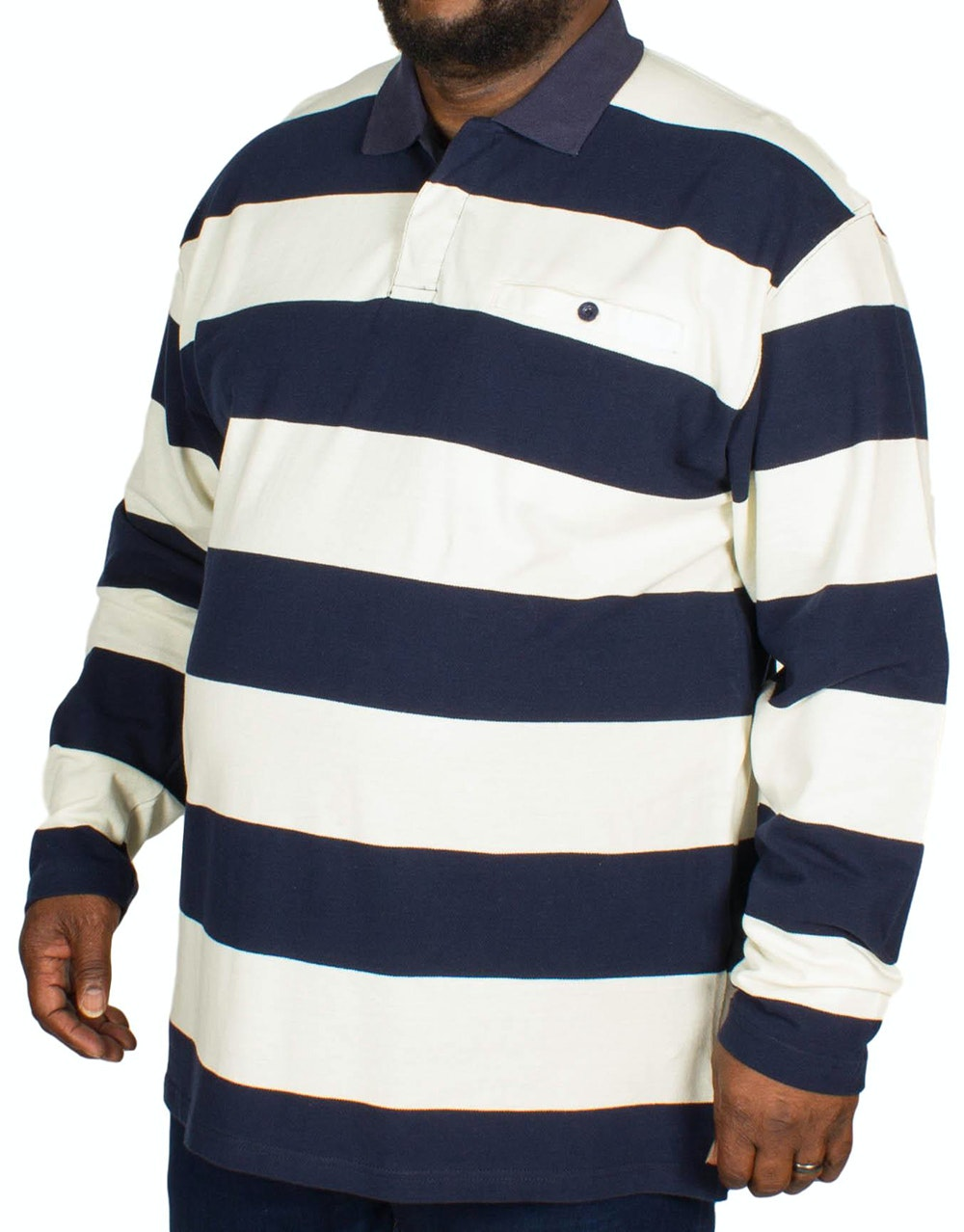 KAM Long Sleeve Rugby Pique Polo Navy