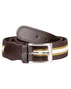John King Warwick Elasticated Belt Brown Stripe