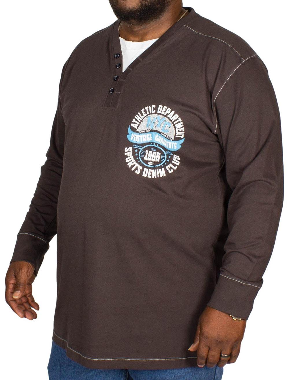 KAM Long Sleeve Baseball T-Shirt Charcoal