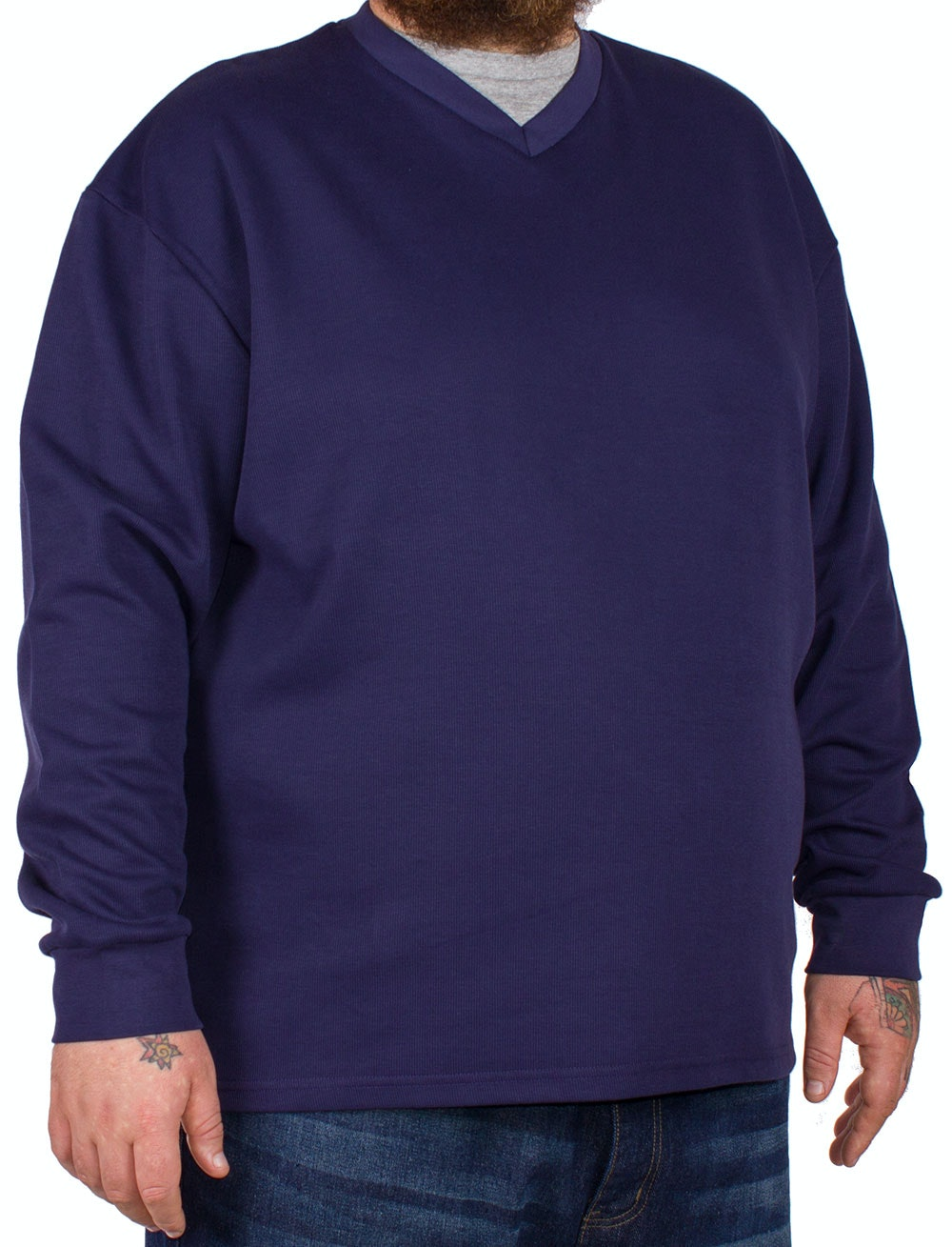 D555 Bliss Navy French Rib Layered V-Neck Jumper