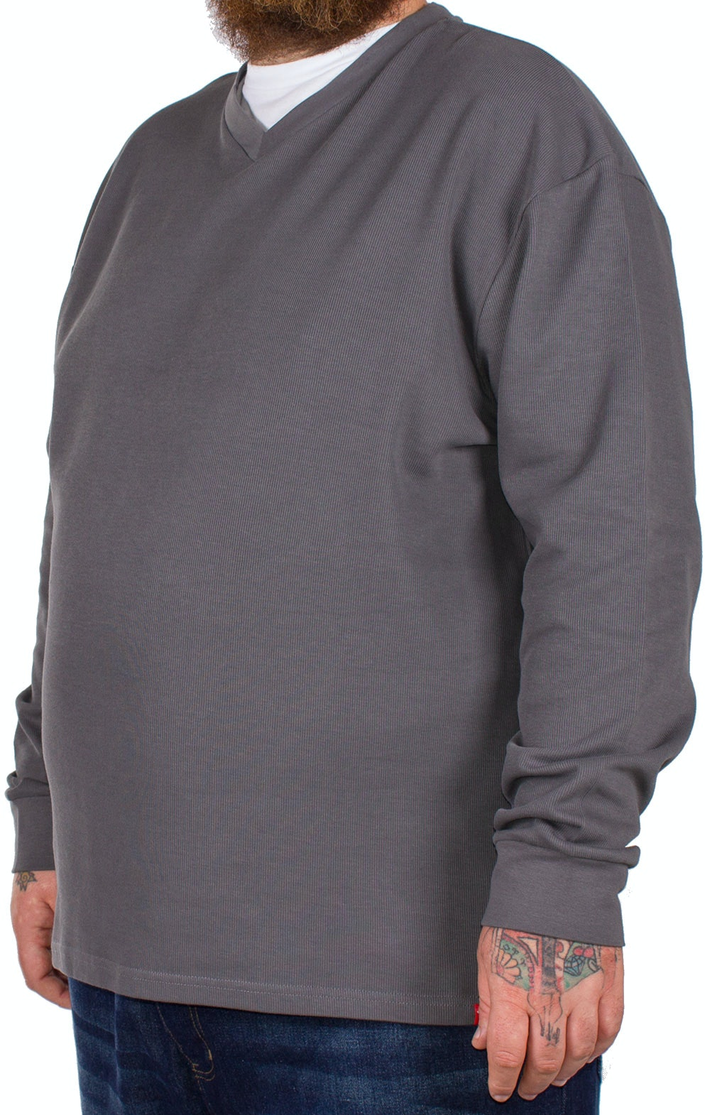 D555 Bliss Charcoal French Rib Layered V-Neck Jumper