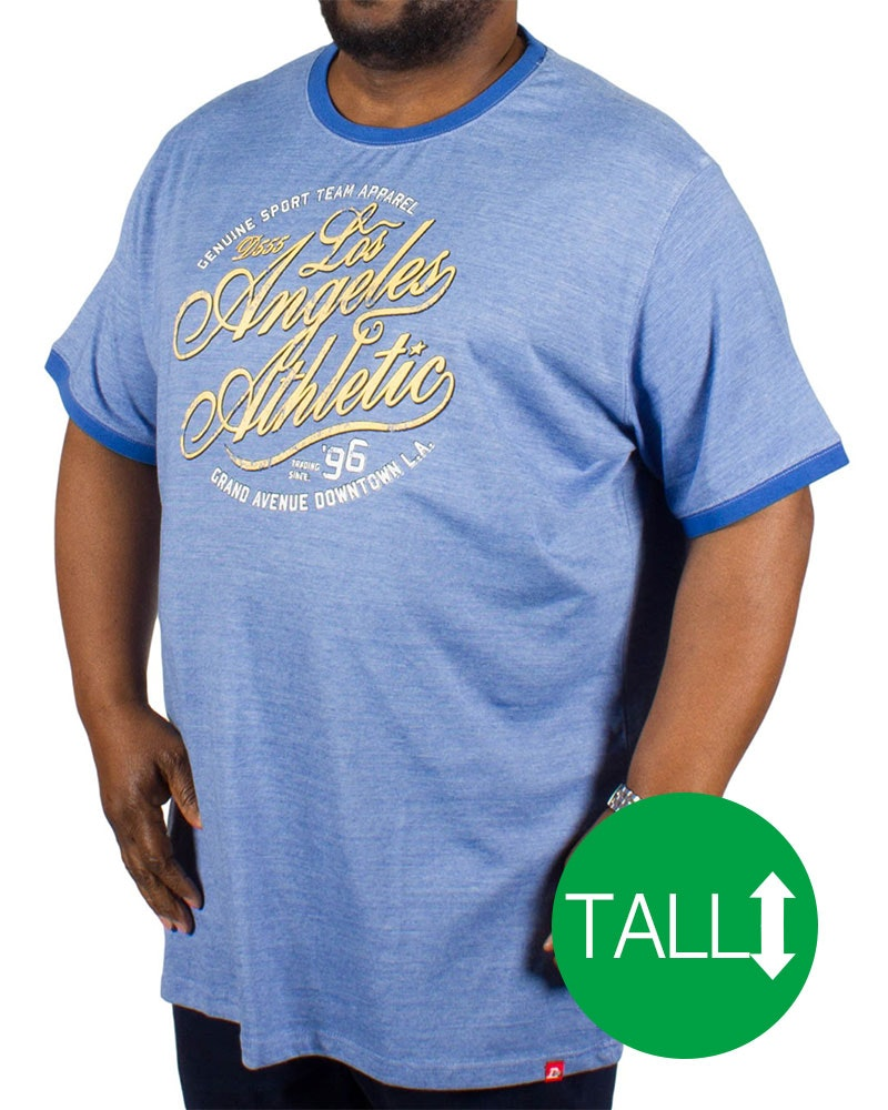 D555 Irvin ' Los Angeles Athletic' Print T-Shirt - Blue Tall