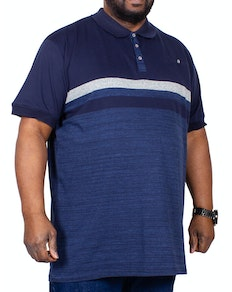 D555 Lawson Block Stripe Polo Shirt Navy