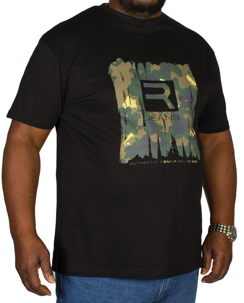 Replika Camouflage Print T-Shirt Black