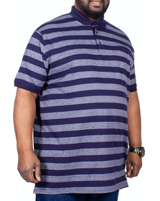 D555 Stripe Polo Shirt With Jet Pocket Navy