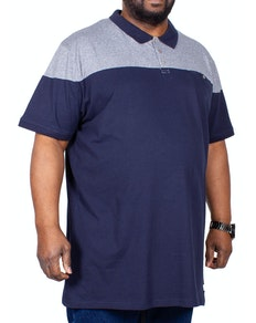 D555 Rigby Polo Shirt With Contrast Fabric Yoke Navy