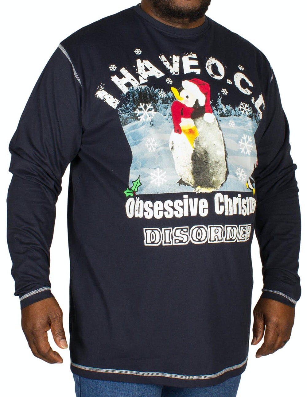 Cotton Valley OCD Christmas Print T-Shirt Navy