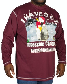 Cotton Valley OCD Christmas Print T-Shirt Wine