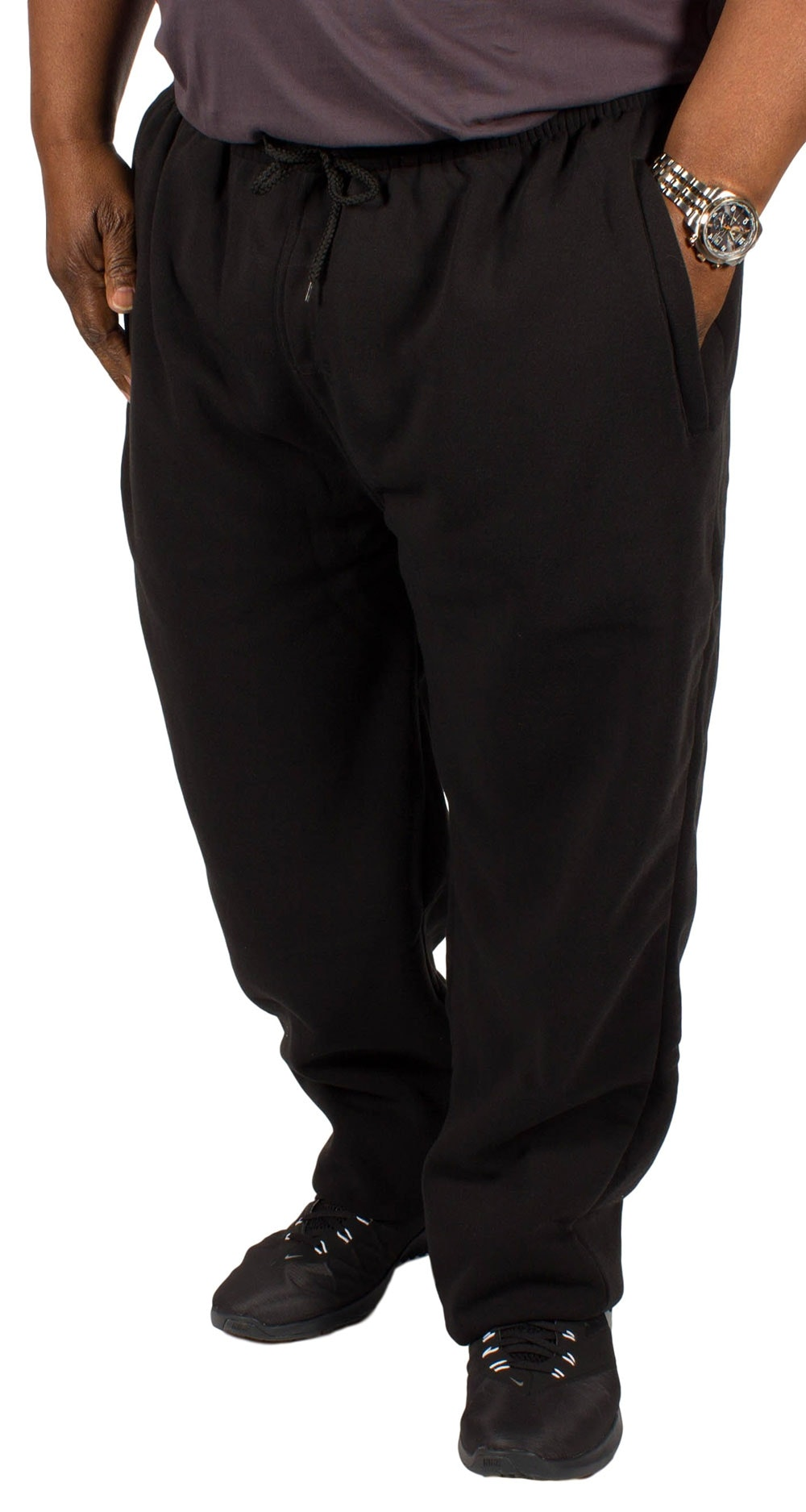 KAM Casual Jog Bottoms Black Extra Tall