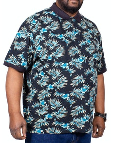 KAM Floral Polo Shirt Navy