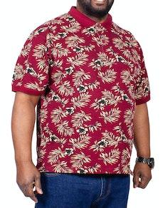 KAM Floral Polo Shirt Burgundy
