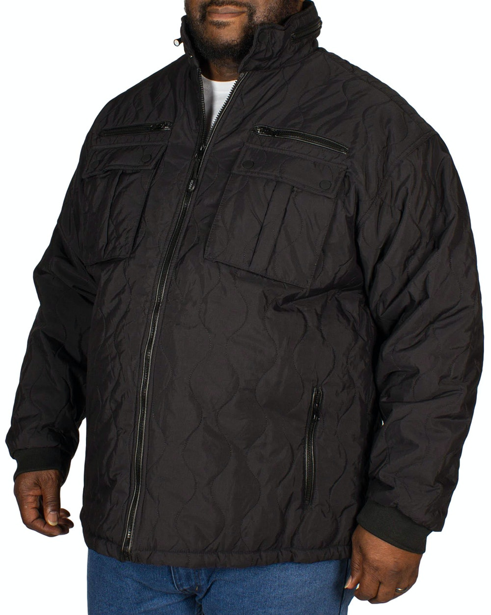 KAM Quilted Zipped Jacket Black