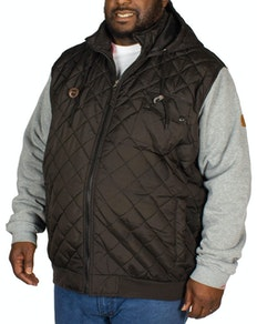D555 Willie Hooded Quilted Jacket Black