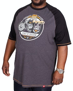 D555 Dallas Raglan Printed T-Shirt Charcoal