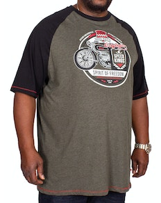 D555 Dallas Raglan Printed T-Shirt Khaki