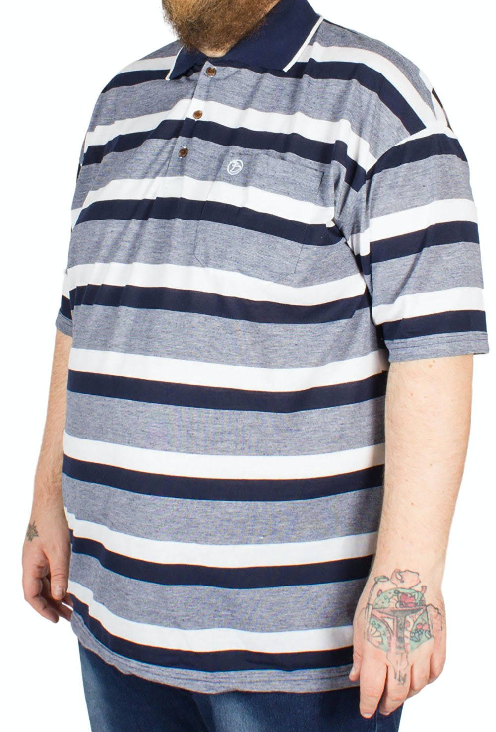 Brooklyn Hugo Stripe Polo Shirt Navy
