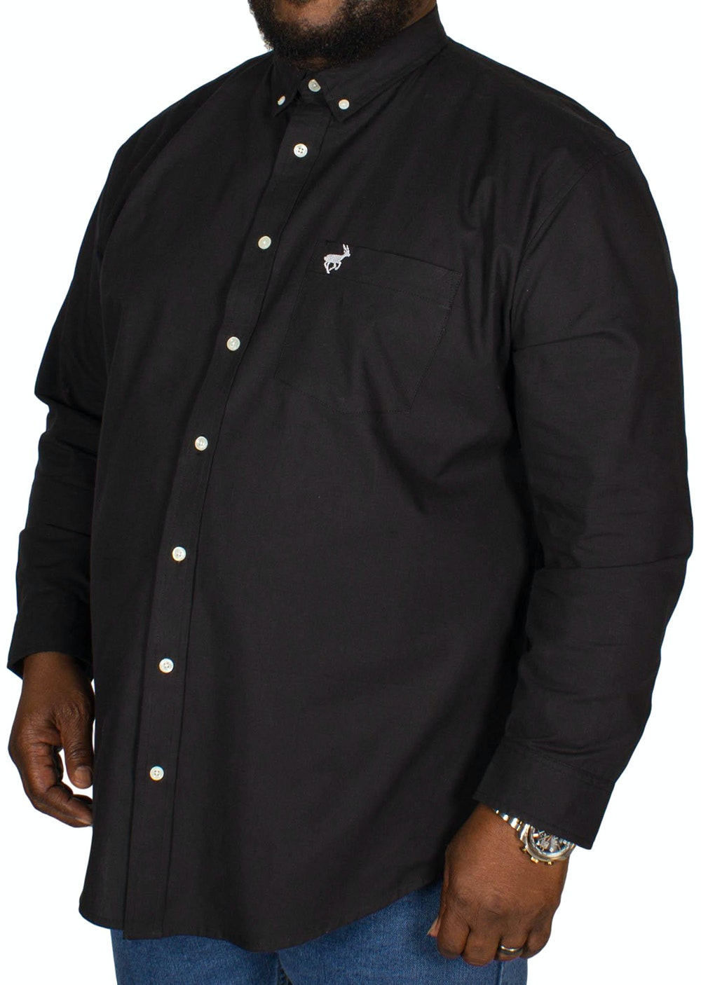 Bigdude Long Sleeve Oxford Shirt Black