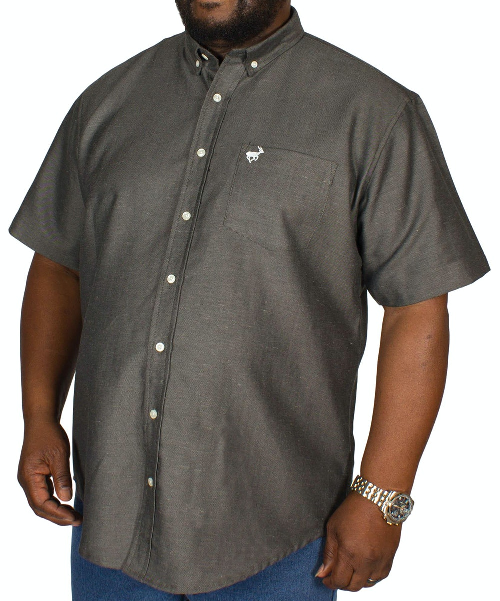 Bigdude Short Sleeve Woven Shirt Charcoal