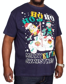 Dancer Christmas Print T-Shirt Navy