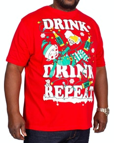 Elf Christmas Print T-Shirt Red