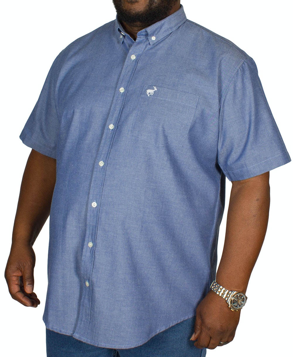 Bigdude Short Sleeve Oxford Shirt Denim