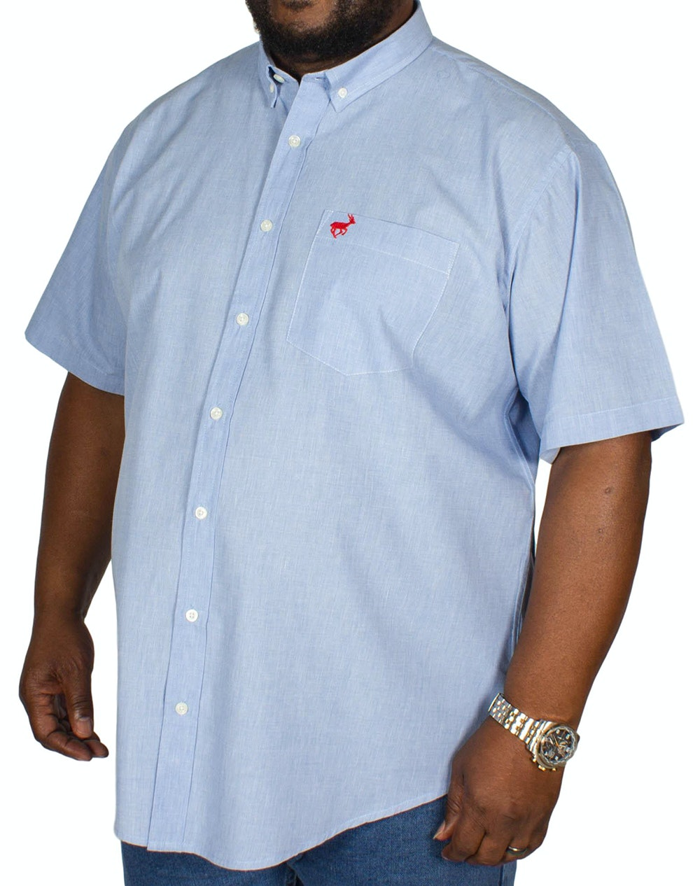 Bigdude Short Sleeve Textured Shirt Blue
