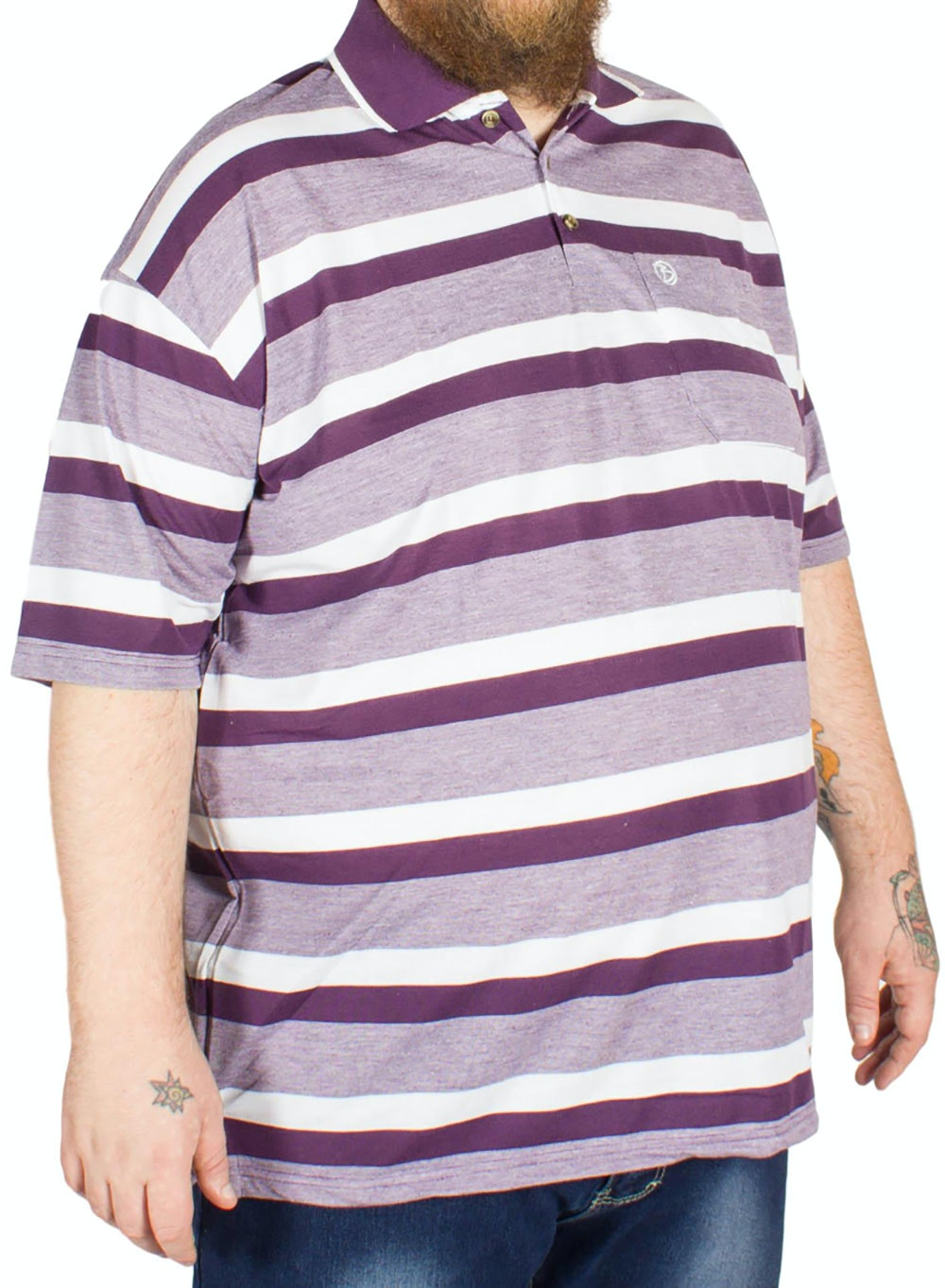 Brooklyn Hugo Stripe Polo Shirt Plum