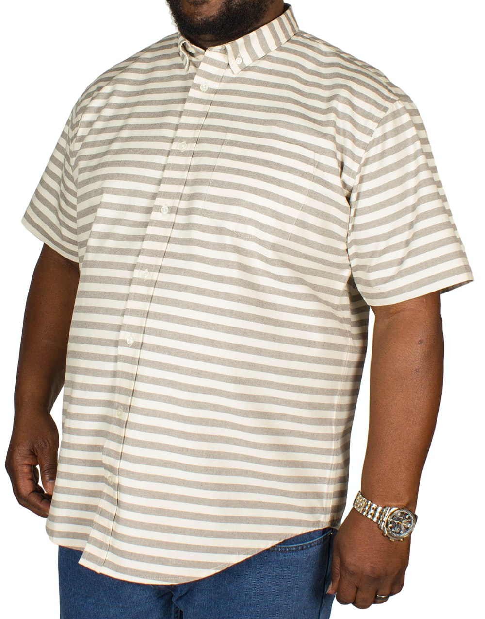 Bigdude Horizontal Stripe Shirt Cream