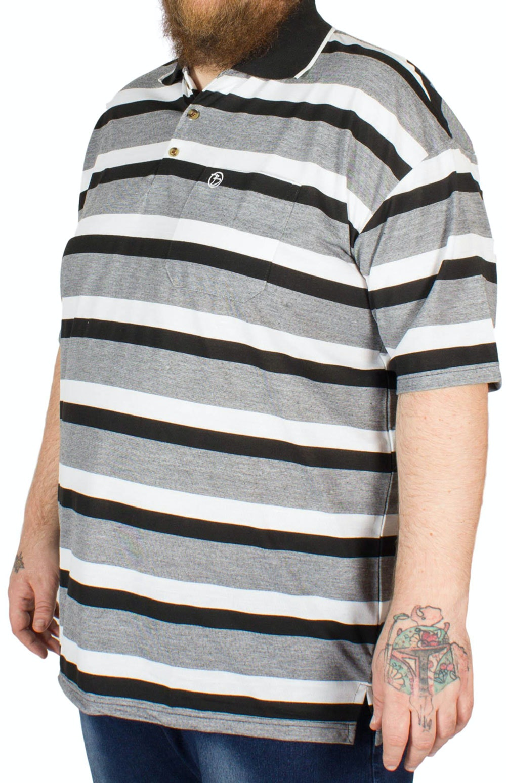 Brooklyn Hugo Stripe Polo Shirt Black
