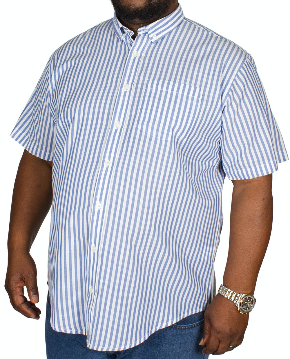 Bigdude Short Sleeve Stripe Shirt Blue