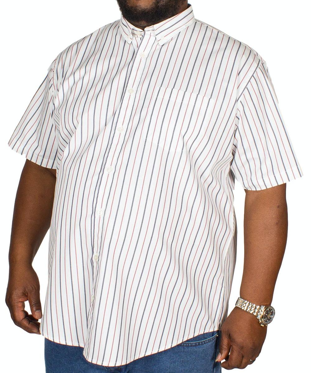 Bigdude Short Sleeve Stripe Shirt White