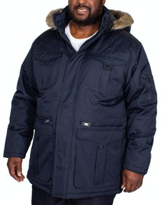 Bigdude Full Zip Parka Coat Navy