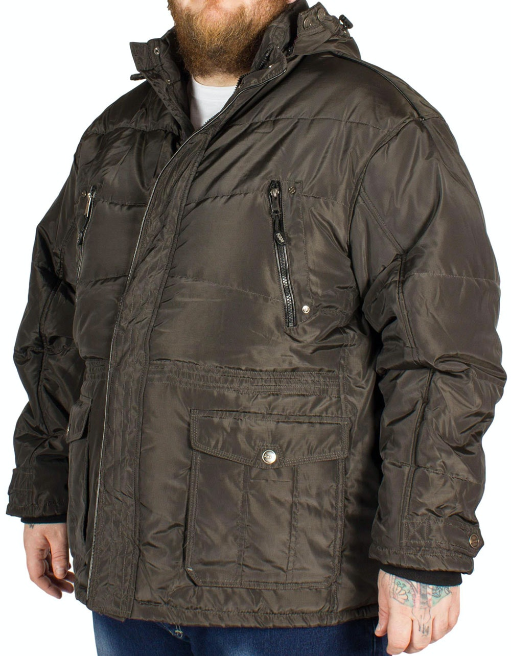 KAM Long Padded Coat Brown