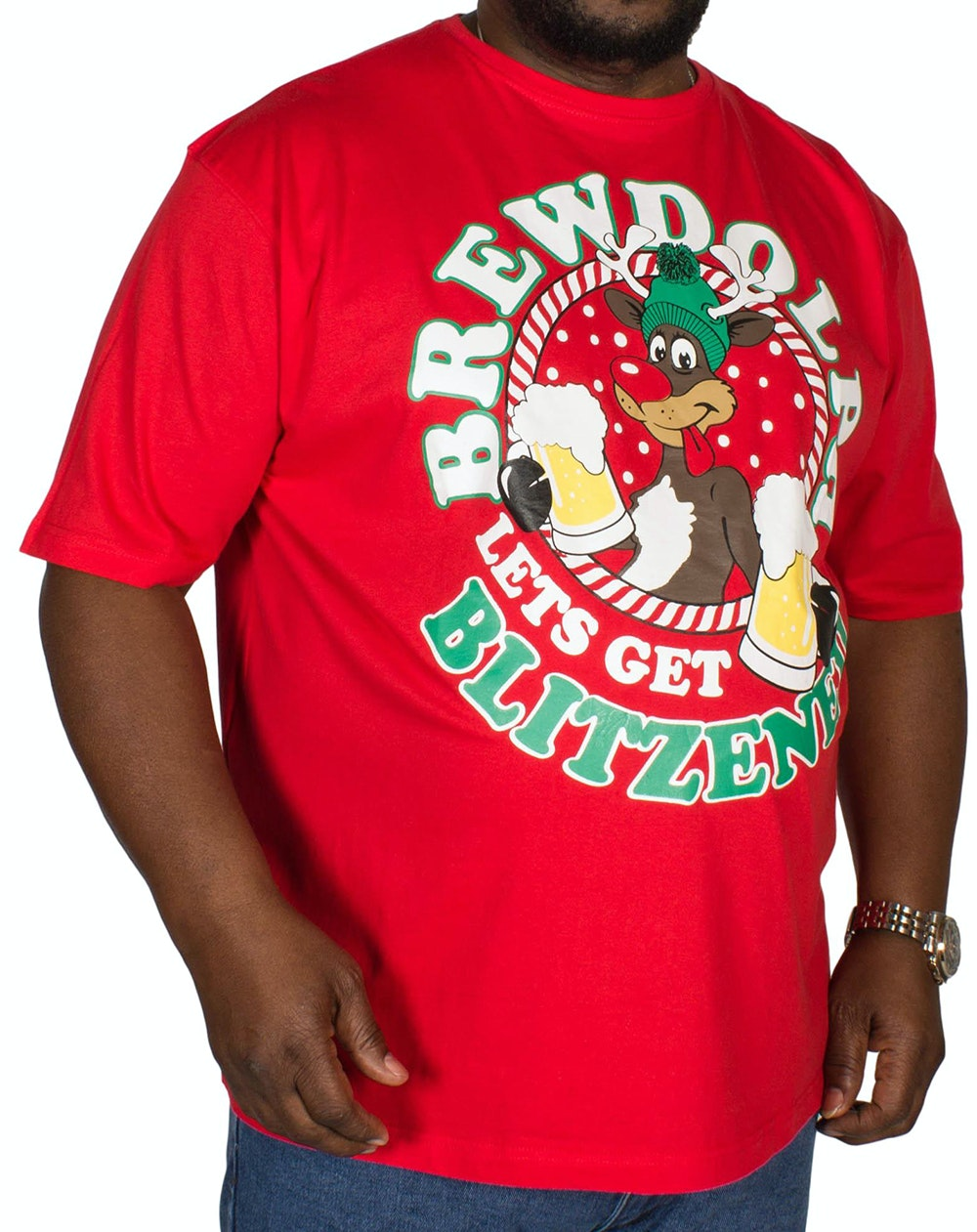 Pierre Roche Brewdolph Christmas Print T-shirt Red