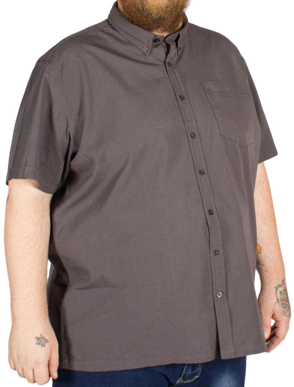 Bigdude Dot Pattern Short Sleeve Shirt Charcoal