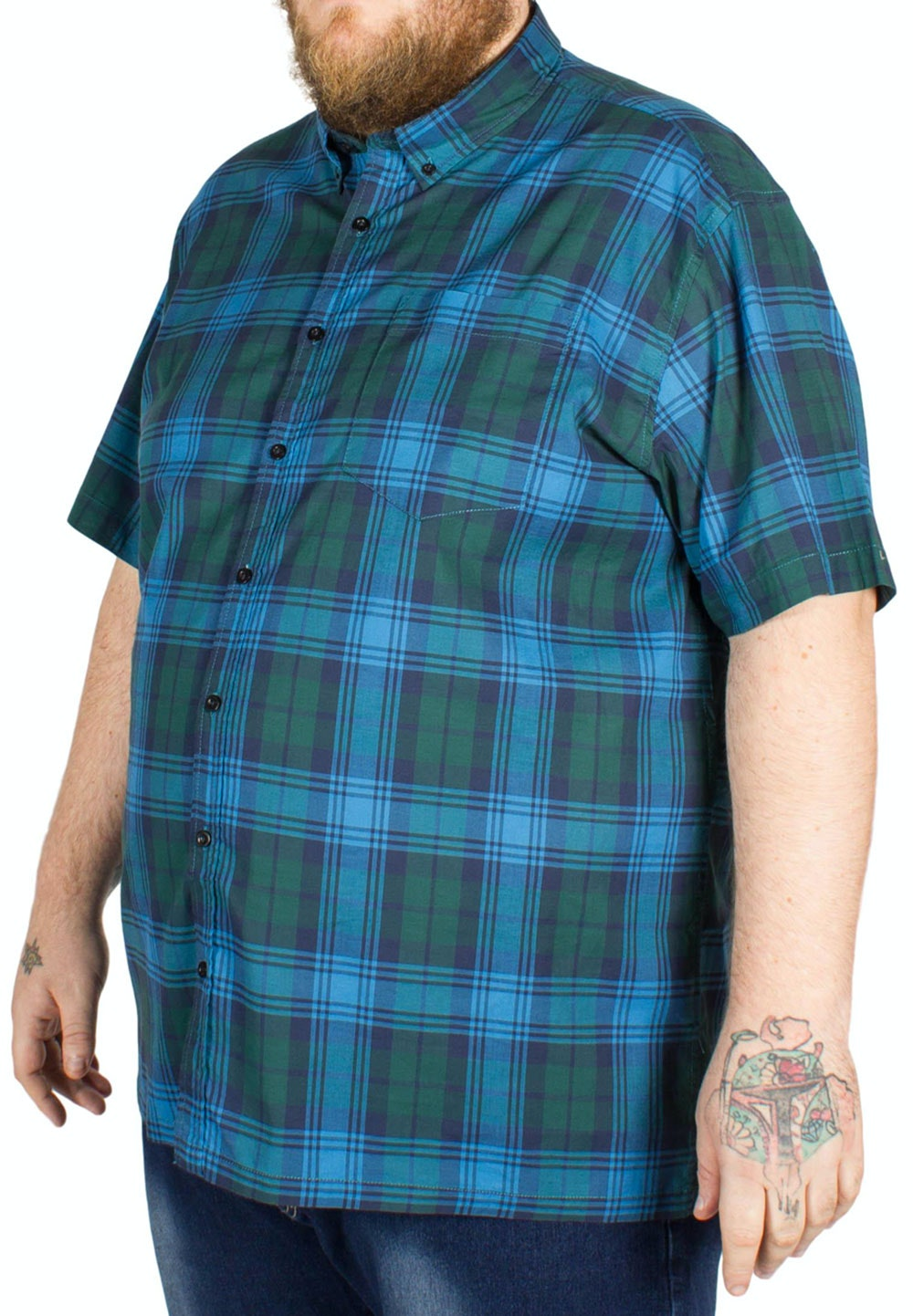 Bigdude Short Sleeve Check Shirt Navy/Green