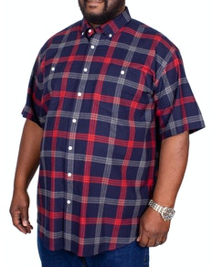 Espionage Brushed Check Short Sleeve Shirt Navy/Red