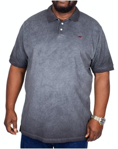 Bigdude Acid wash Polo Shirt Black Tall