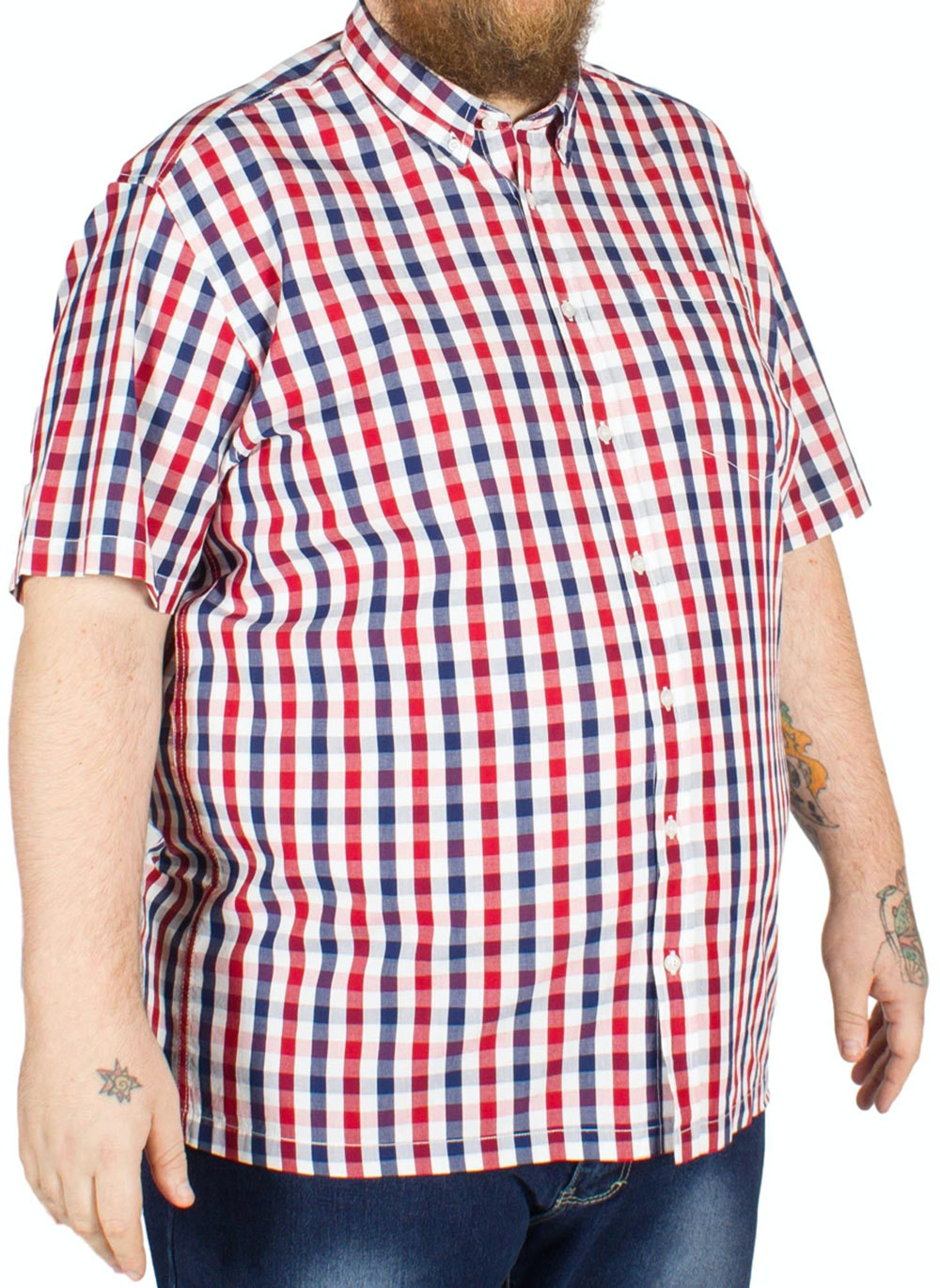 Bigdude Short Sleeve Check Shirt Navy/Red