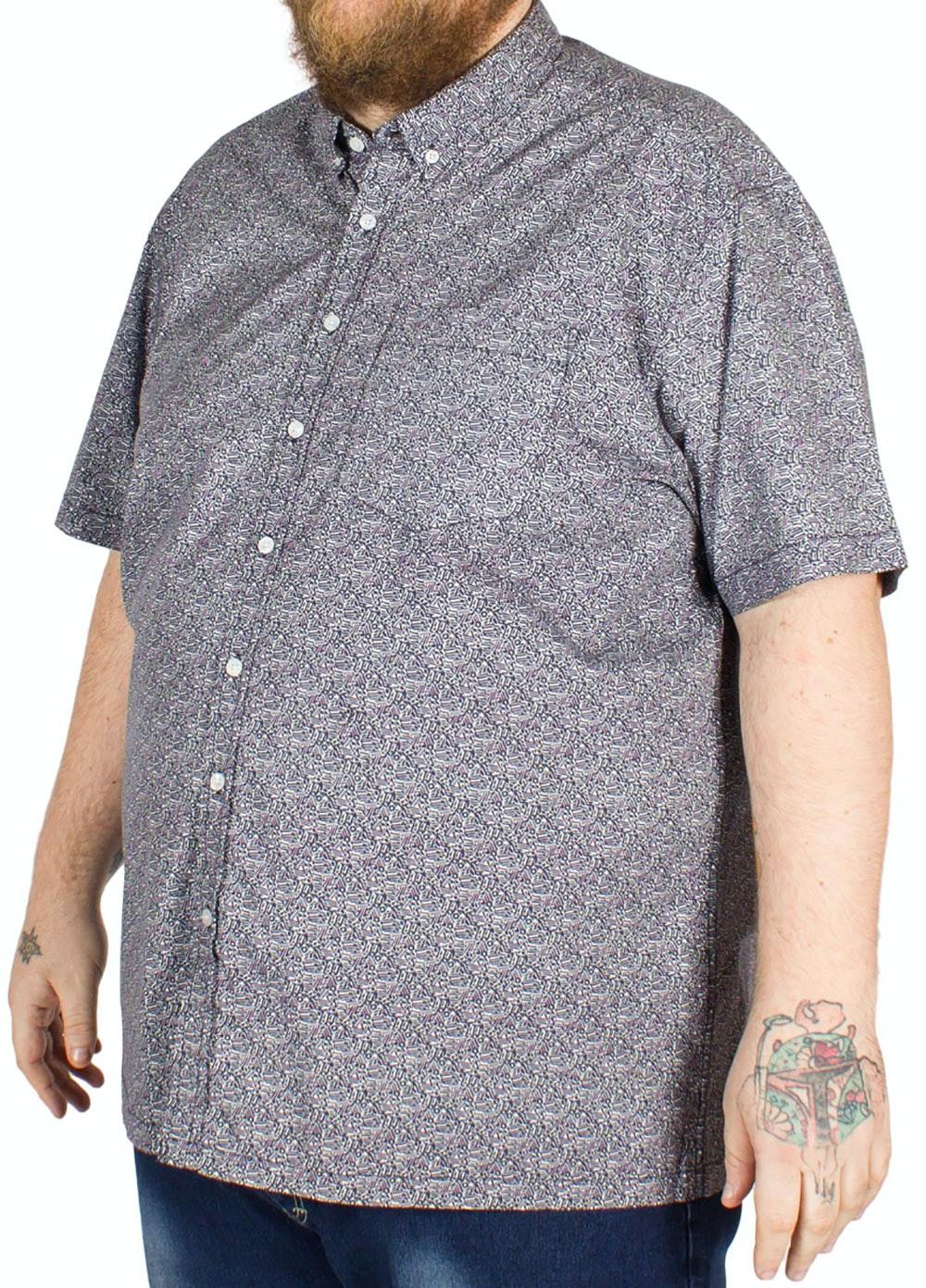 Bigdude Abstract Pattern Short Sleeve Shirt Navy