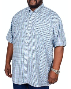Espionage Short Sleeve Check Shirt Navy/Green