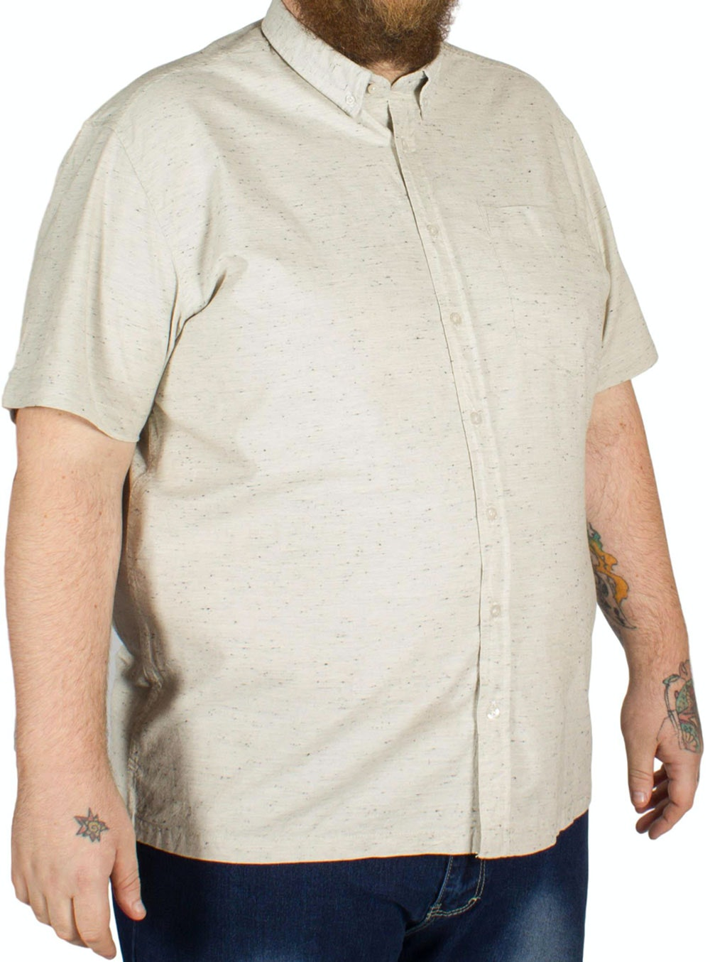 Bigdude Speckled Marl Short Sleeve Shirt Grey