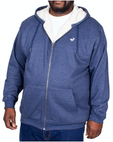 Bigdude Sherpa Lined Zip Hoody Dark Denim Tall