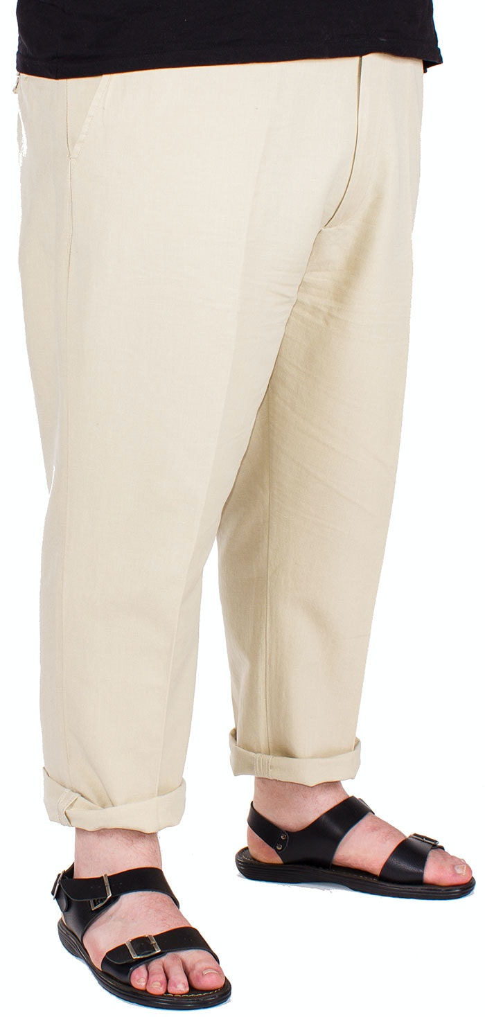 Ed Baxter Salvador Flat Fronted Linen Beige Trousers